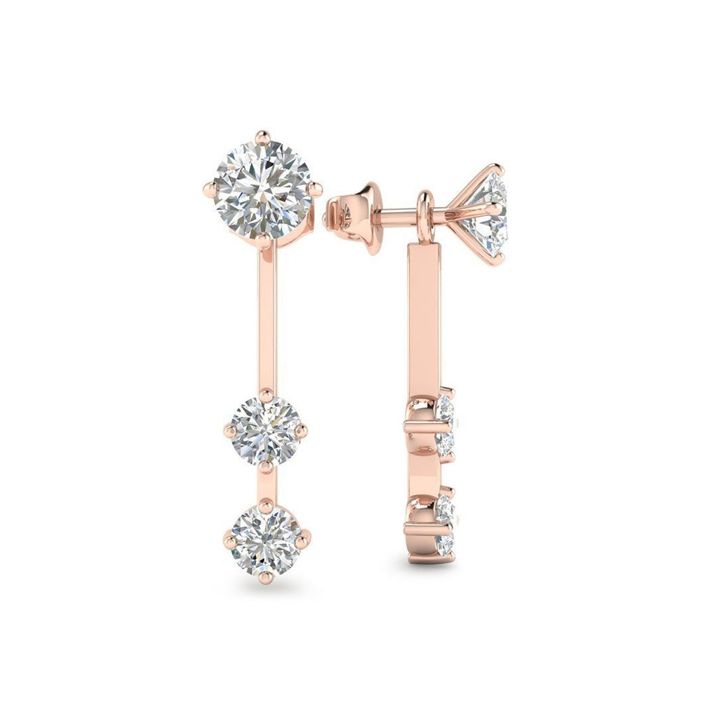 EAR-14-NAT-D-SI1-EX 14k Rose Gold By The Yard Detachable Diamond Earrings - 0.60 carat D-SI1 Natural, Screw Backs