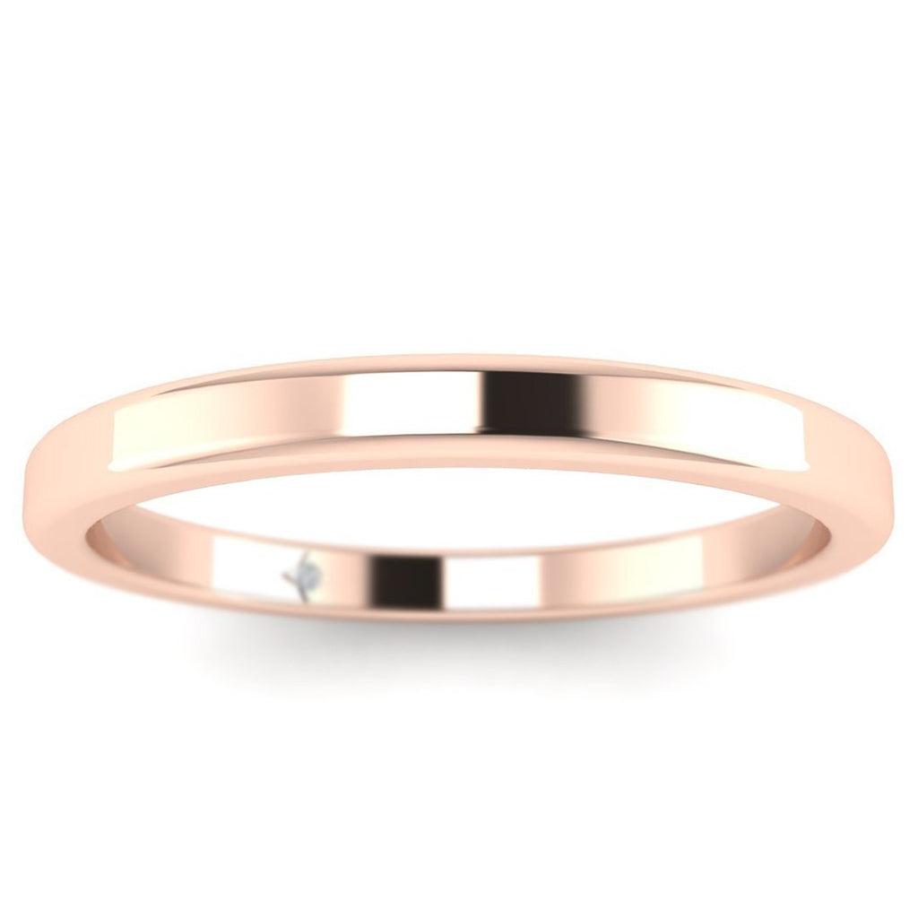 14k Rose Gold Classic Flat Solid Plain Wedding Band Ring - Custom Made