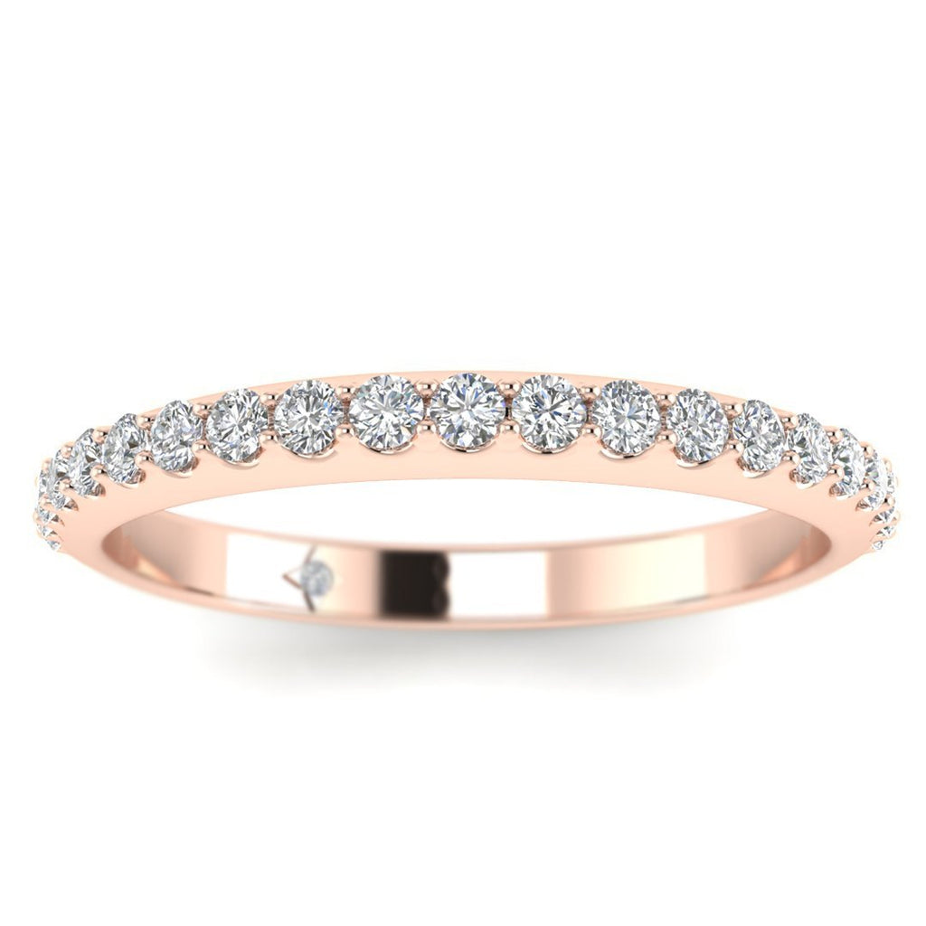 DB-14 14k Rose Gold Classic French Pave Thin Diamond Wedding Band Ring