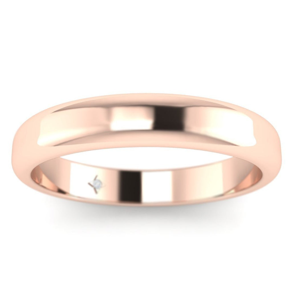 14k Rose Gold Classic Wide Women's Plain Wedding Band Ring - Custom Made