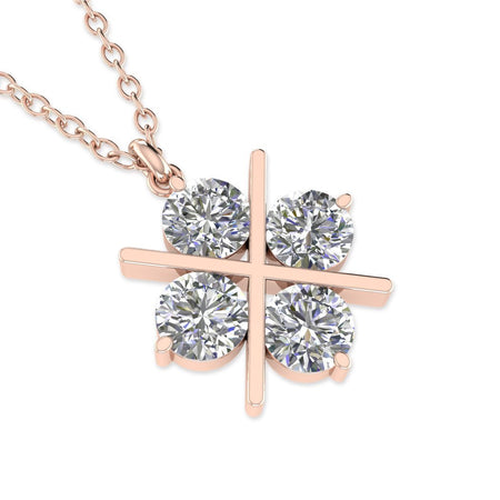 PEN-14 14k Rose Gold Cross Clover Diamond Pendant Necklace - 0.60 carat  D-SI1 Natural