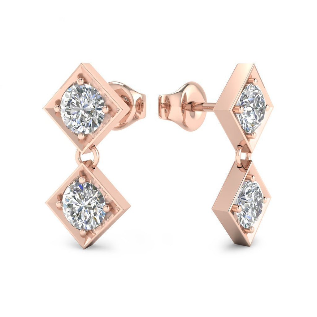 14k Rose Gold Dangling Squares Diamond Earrings - 0.20 carat D-SI1 Natural, Screw Backs - Custom Made