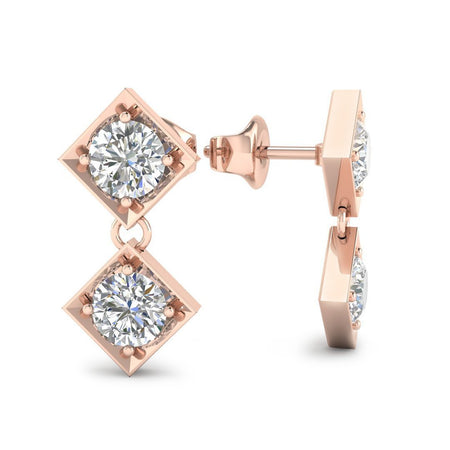EAR-14-NAT-D-SI1-EX 14k Rose Gold Dangling Squares Diamond Earrings - 0.20 carat D-SI1 Natural, Screw Backs