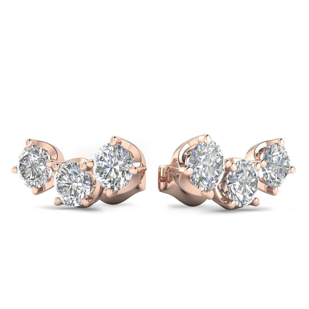 EAR-14-NAT-D-SI1-EX 14k Rose Gold Diamond 3-Stone Trilogy Stud Earrings - 0.90 carat D-SI1 Natural, Screw Backs