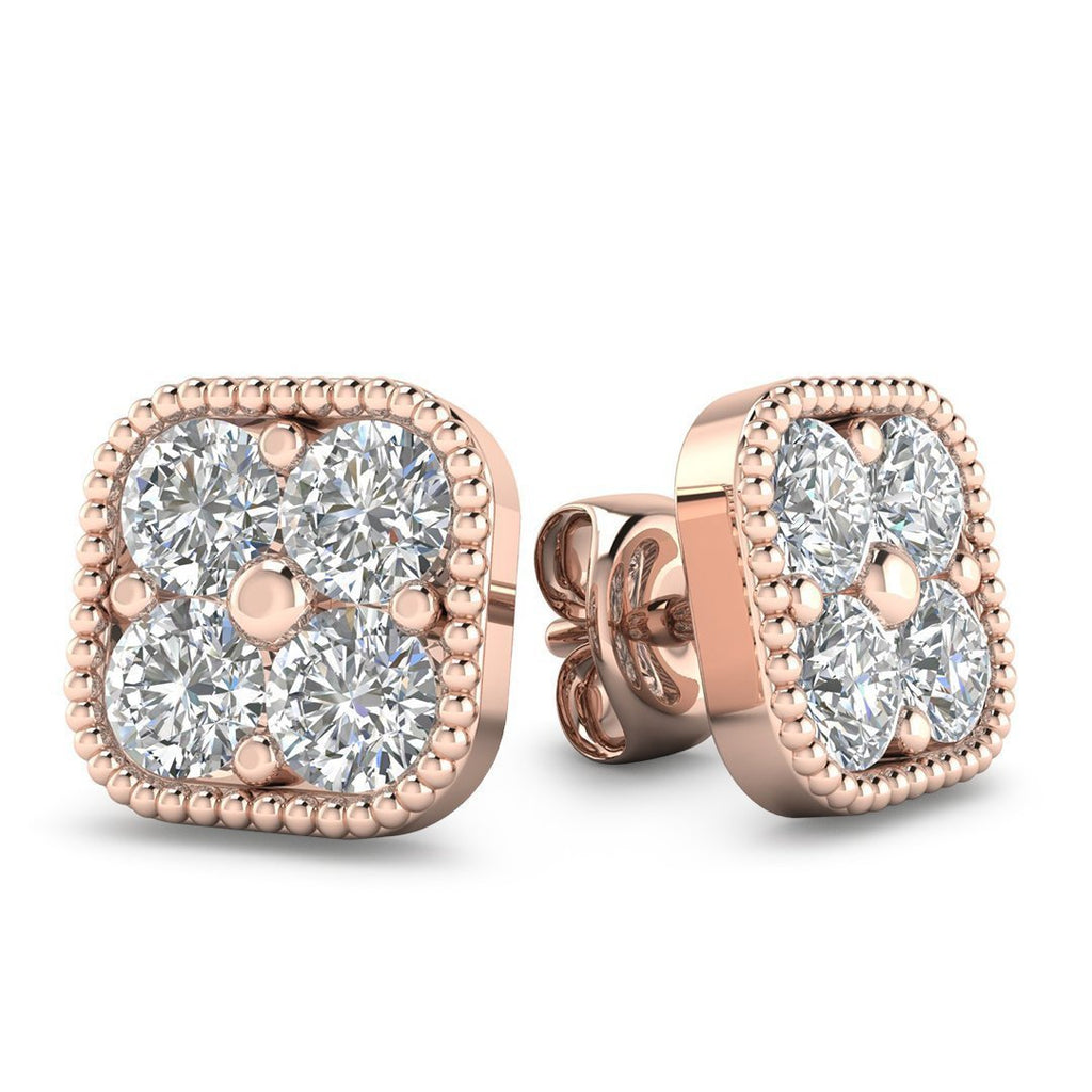 EAR-14-NAT-D-SI1-EX 14k Rose Gold Diamond Cluster Stud Earrings - 2.00 carat D-SI1 Natural, Butterfly Push-Backs