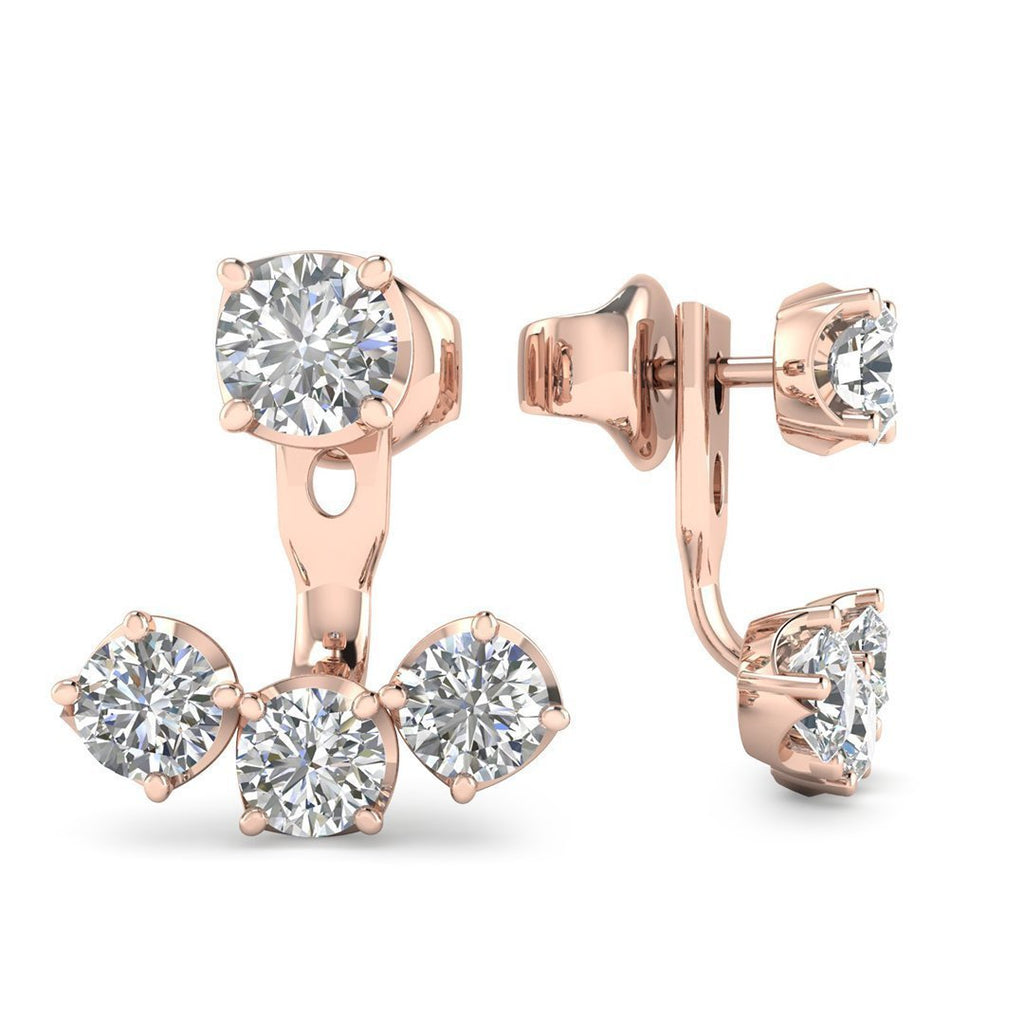 14k Rose Gold Diamond Detachable Trilogy Stud Earrings - 2.00 carat D-SI1 Natural, Screw Backs - Custom Made