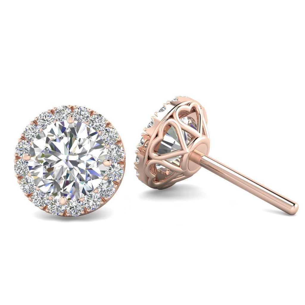 EAR-14-NAT-D-SI1-EX 14k Rose Gold Diamond Halo Hearts Stud Earrings - 3.50 carat D-SI1 Natural, Butterfly Push-Backs