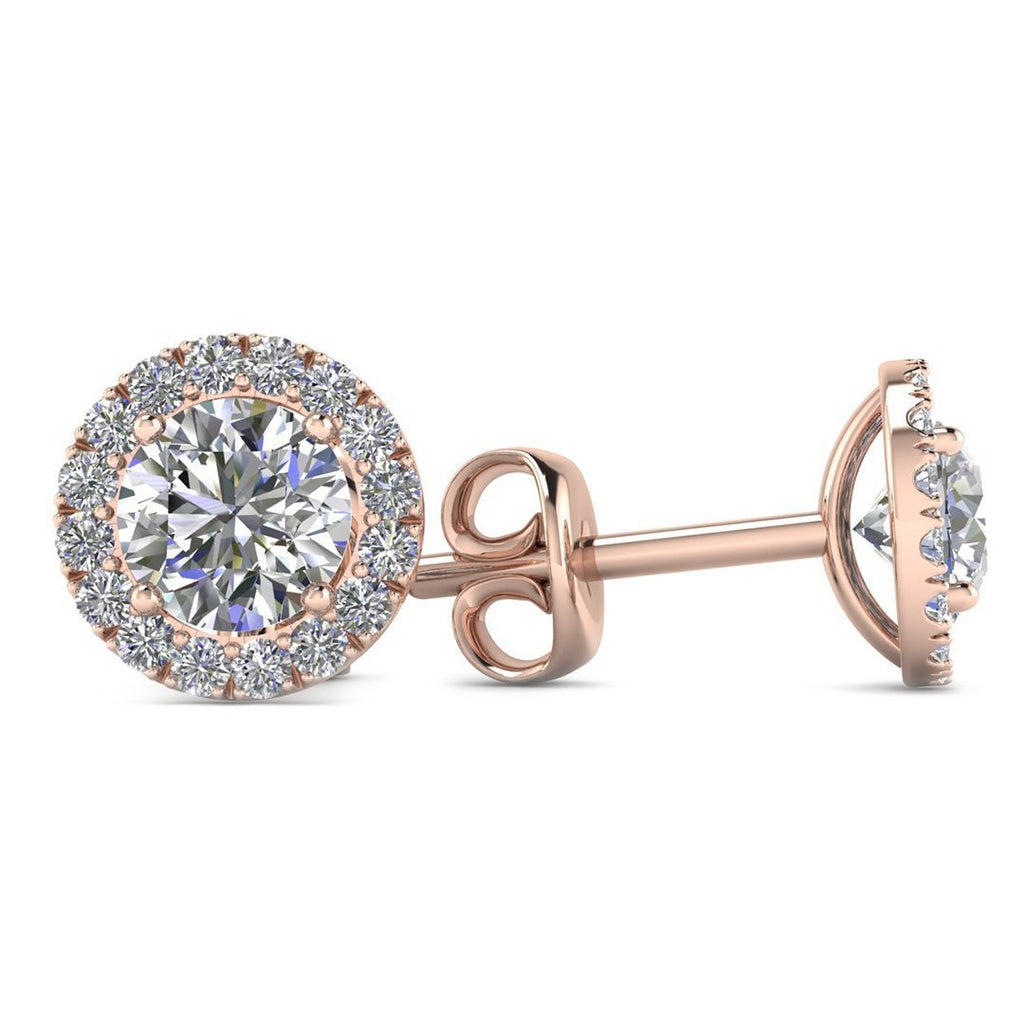 14k Rose Gold Diamond Halo Stud Earrings - 0.60 carat D-SI1 Natural, Butterfly Push-Backs - Custom Made
