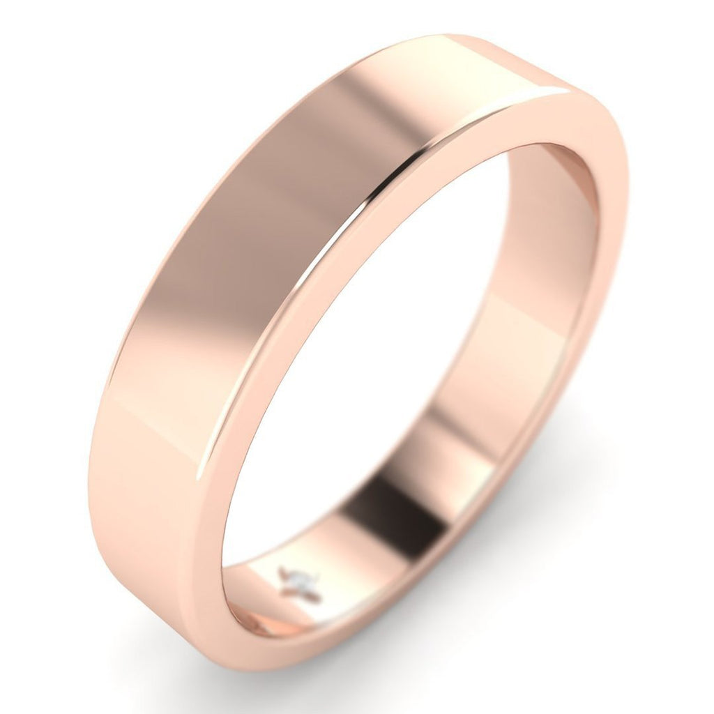 14k Rose Gold Flat Wide Classic Plain Wedding Band Ring - Custom Made