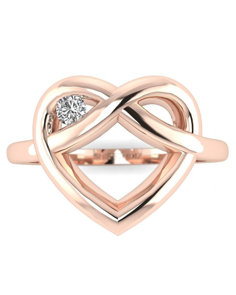 14K Rose Gold Real Diamond Ring - Winking Heart - Custom Made