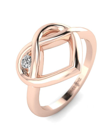 Hidden 14K Rose Gold Real Diamond Ring - Winking Heart