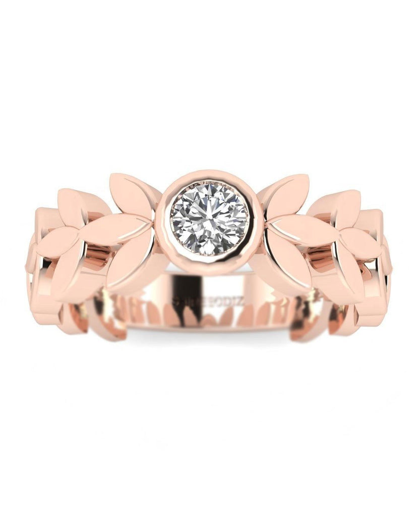 14K Rose Gold Real Diamond Vintage Style Rings - Leaves and Petals - Custom Made