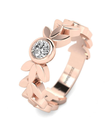 Hidden 14K Rose Gold Real Diamond Vintage Style Rings - Leaves and Petals