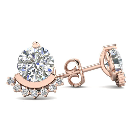 EAR-14-NAT-D-SI1-EX 14k Rose Gold Semi Halo Diamond Stud Earrings - 0.60 carat D-SI1 Natural, Screw Backs