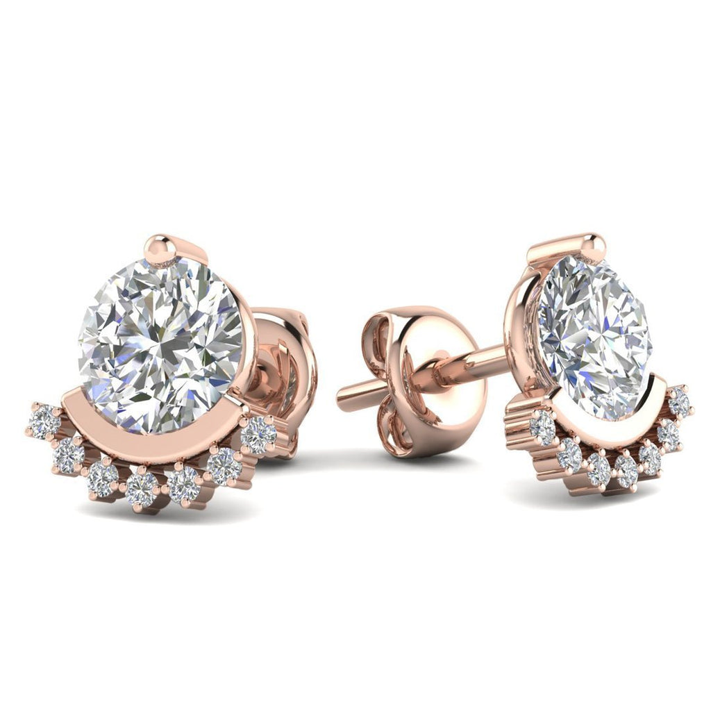 14k Rose Gold Semi Halo Diamond Stud Earrings - 1.80 carat D-SI1 Natural, Screw Backs - Custom Made
