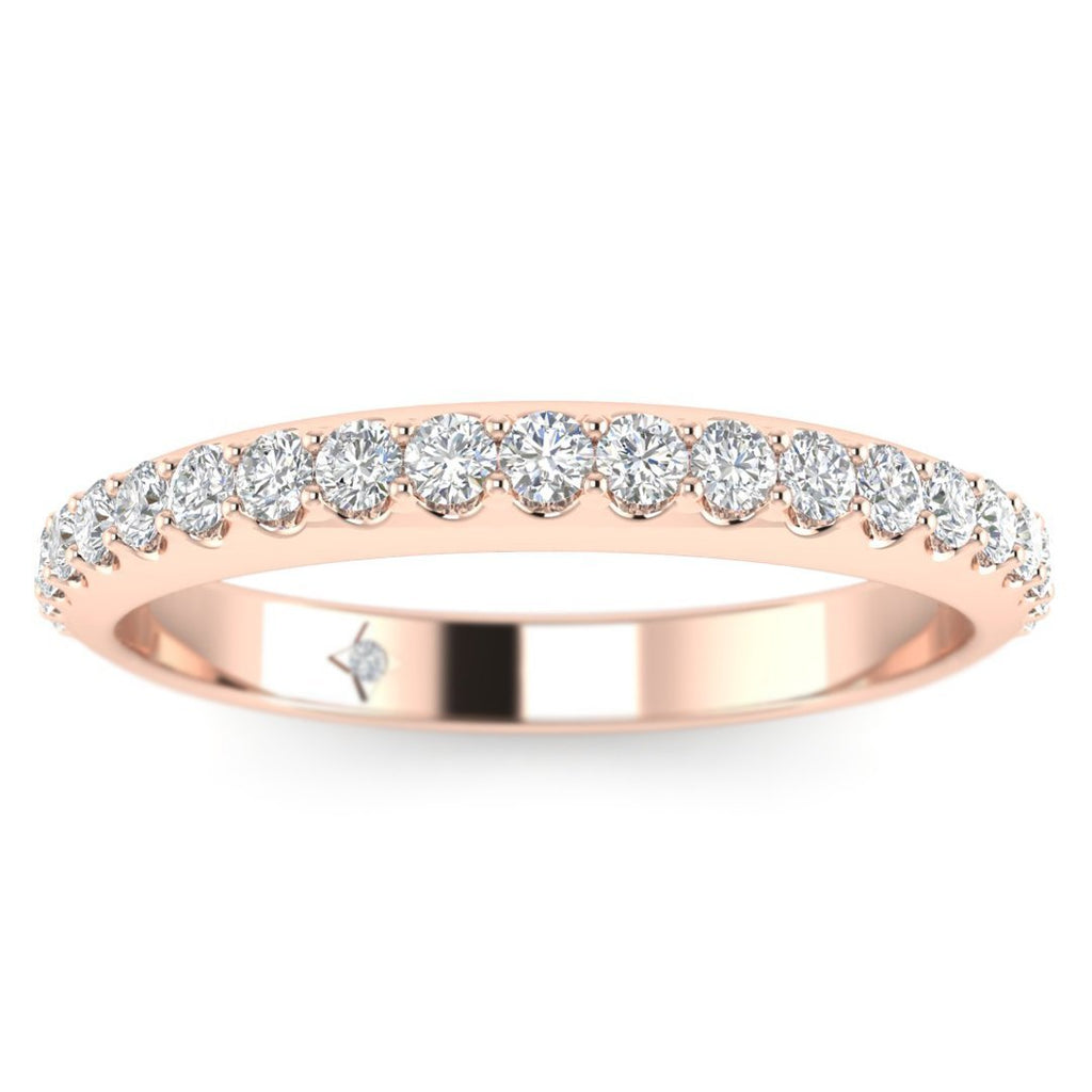 14k Rose Gold Shared-Prong Pave Women's Diamond Wedding Band Ring - Custom Made