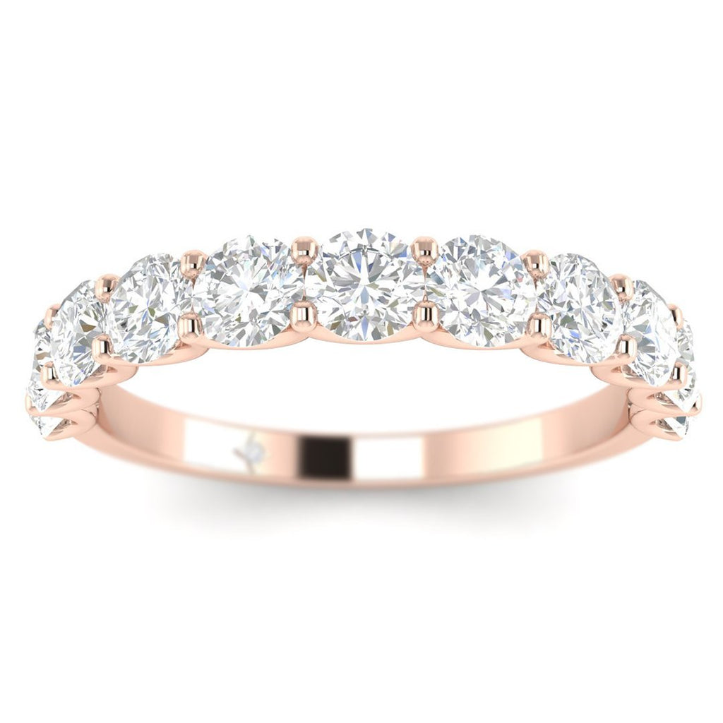 14k Rose Gold Shared-Prong Semi-Eternity Women's Diamond Wedding Band Ring - Custom Made