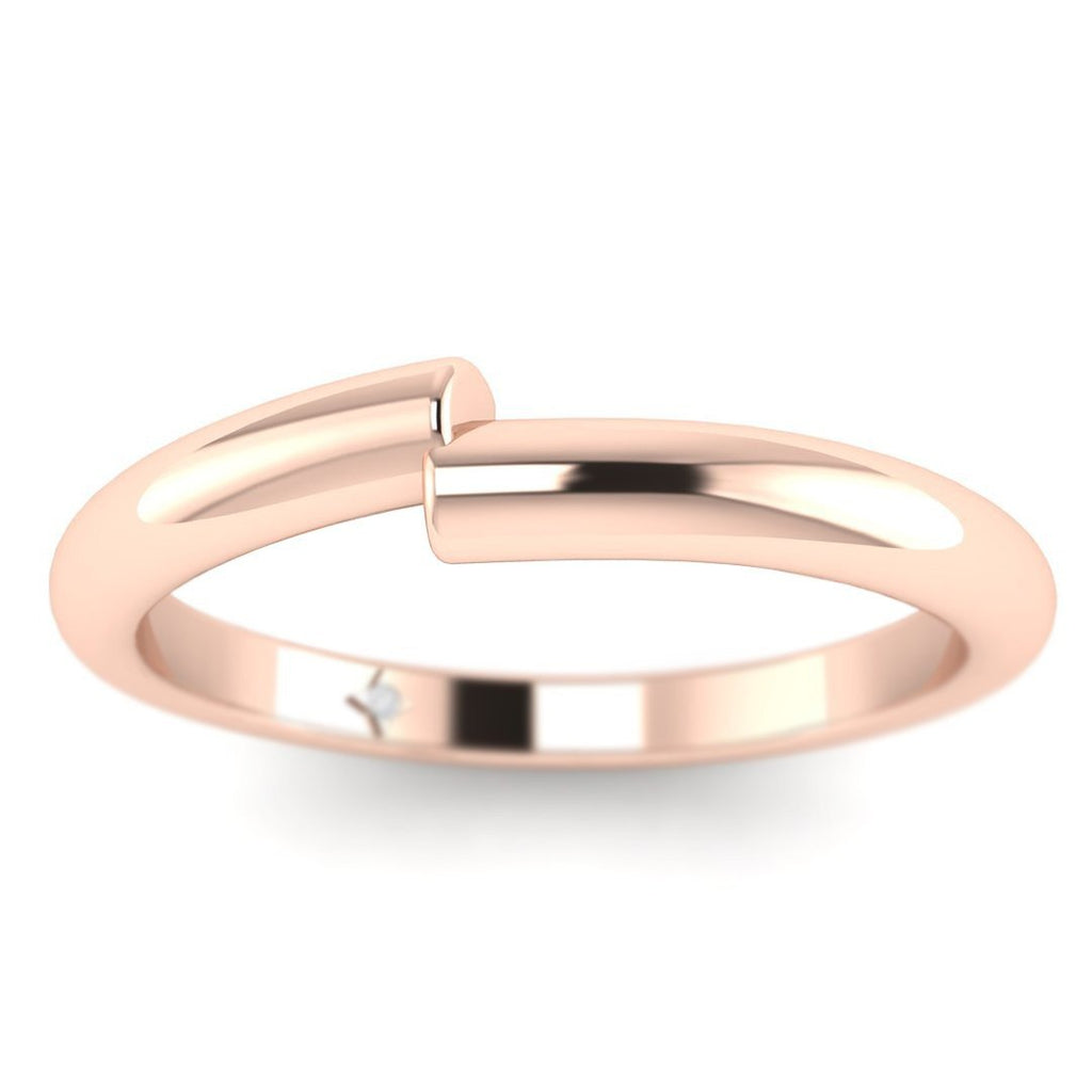 14k Rose Gold Unique Flush Fitting Plain Wedding Band Ring - Custom Made