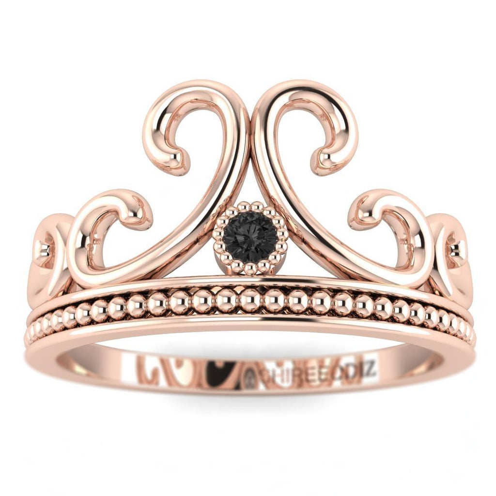 14K Rose Gold Vintage Crown Promise Ring - Custom Made