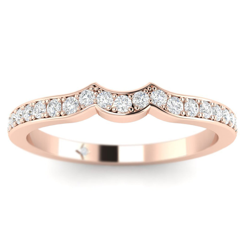 14k Rose Gold Vintage Designer Matching Diamond Wedding Band Ring - Custom Made