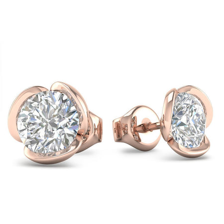 EAR-14-NAT-D-SI1-EX 14k Rose Gold Vintage Flower Diamond Stud Earrings - 0.60 carat D-SI1 Natural, Screw Backs