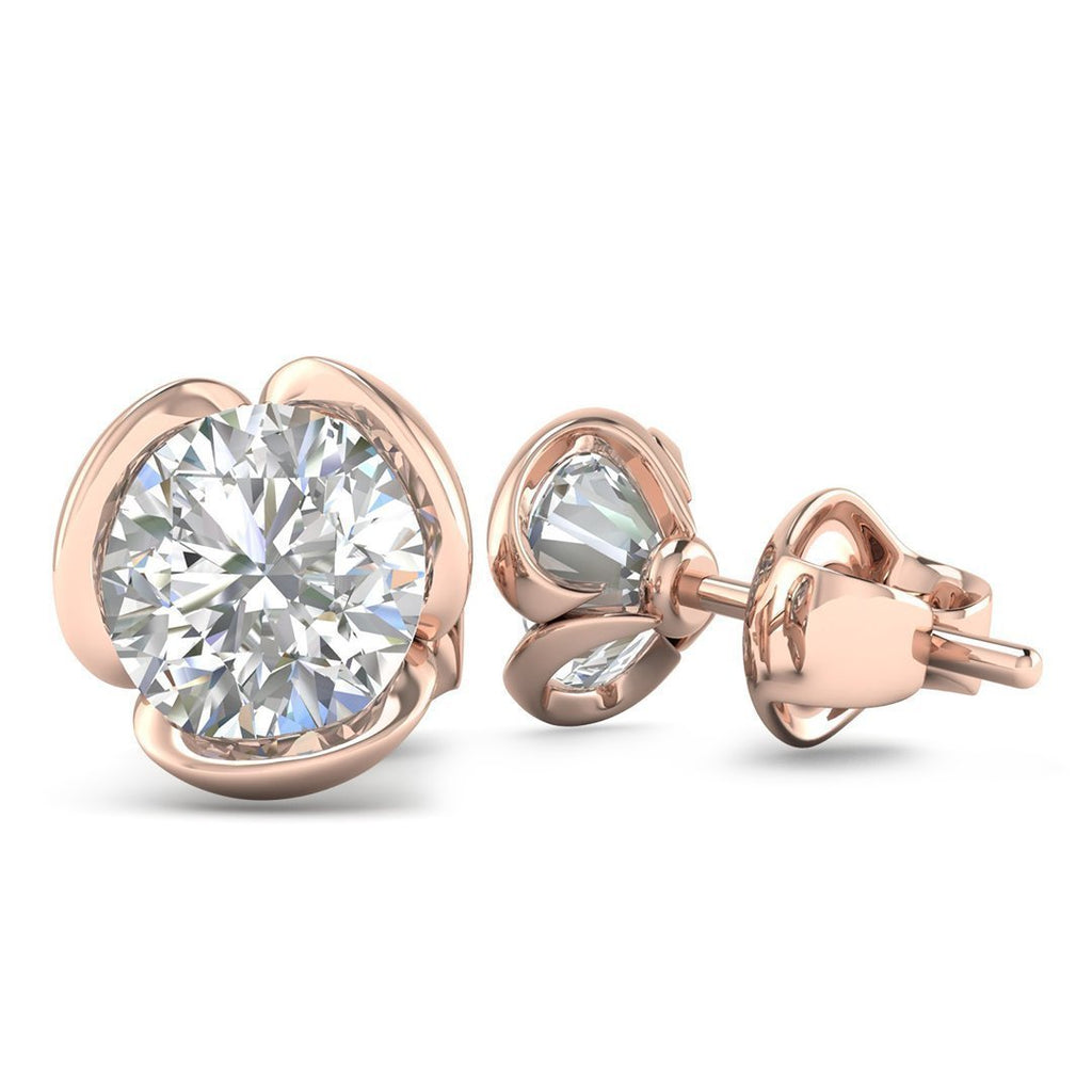 14k Rose Gold Vintage Flower Diamond Stud Earrings - 0.80 carat D-SI1 Natural, Butterfly Push-Backs - Custom Made