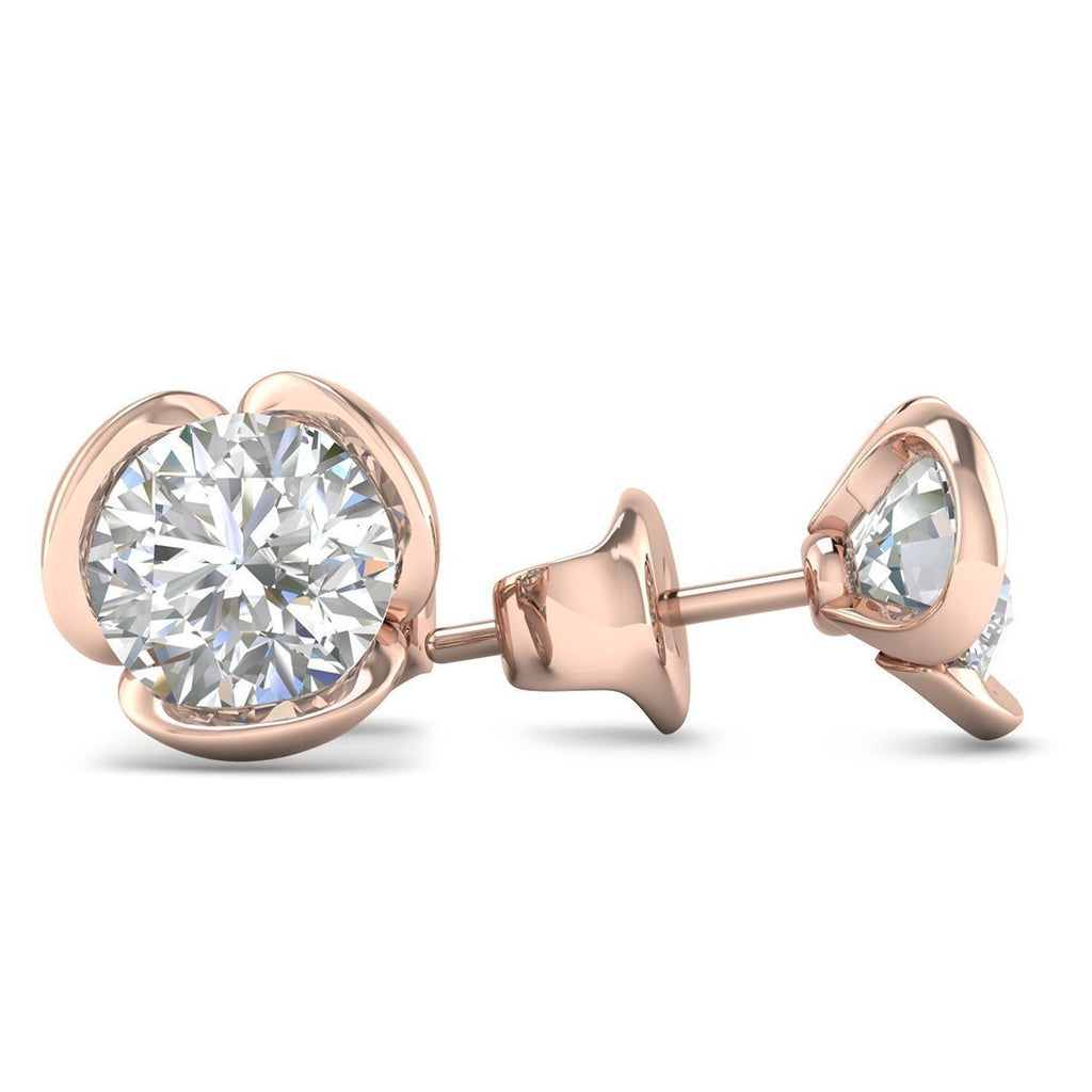 14k Rose Gold Vintage Flower Diamond Stud Earrings - 2.00 carat D-SI1 Natural, Butterfly Push-Backs - Custom Made