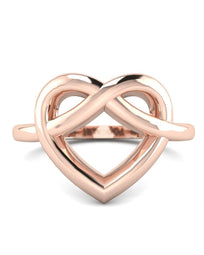 Hidden 14K Rose Gold Women's Heart Promise Rings