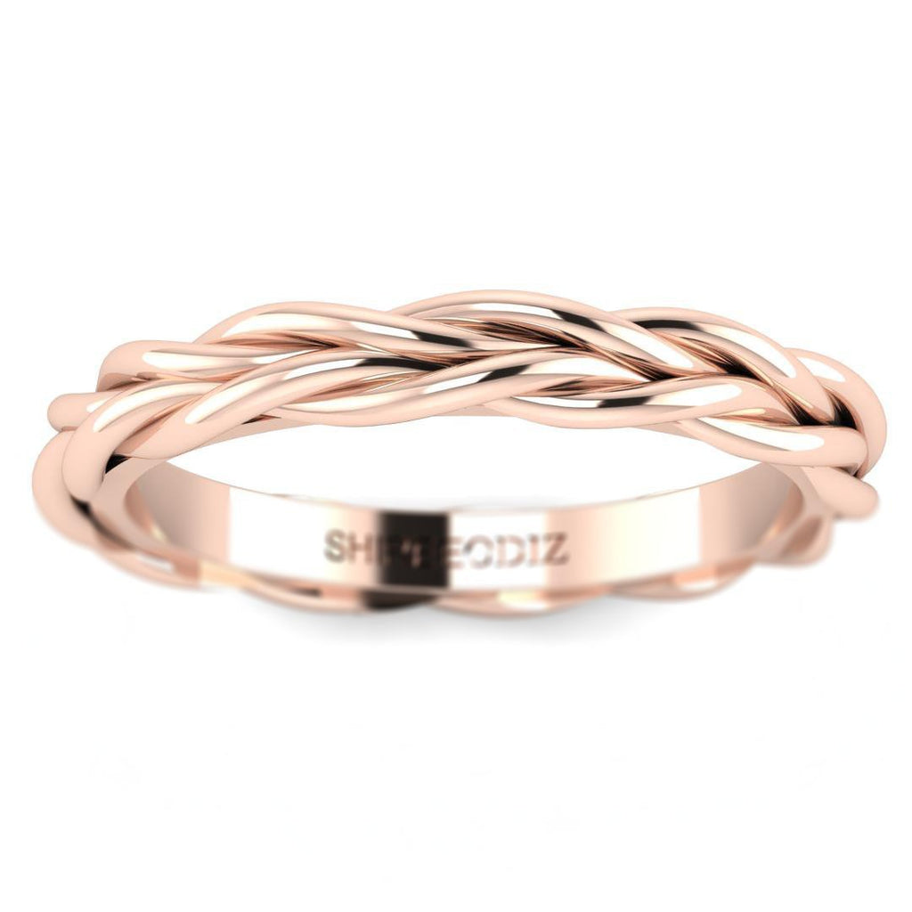 14K Solid Rose Gold Plaited Style Promise Ring - Custom Made