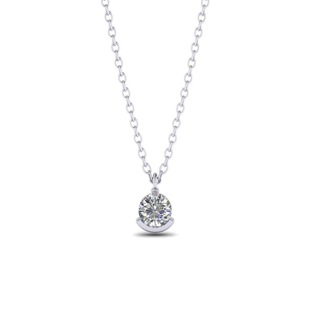 PEN-14 14k Unique White Gold Diamond Solitaire Pendant Necklace - 0.30 carat D-SI1 Natural