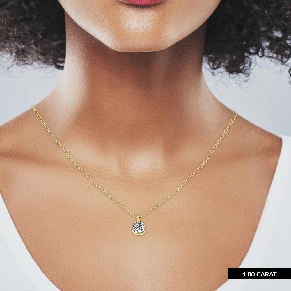 14k Unique Yellow Gold Diamond Solitaire Pendant Necklace - 0.25 carat D-SI1 Natural - Custom Made