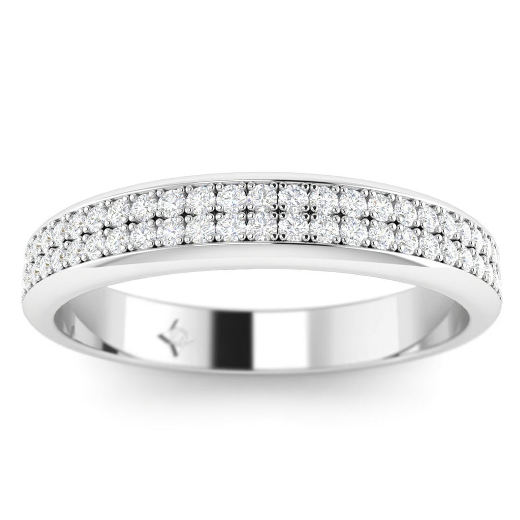 DB-14 14k White Gold 2-Row Pave Set Diamond Wedding Band Ring