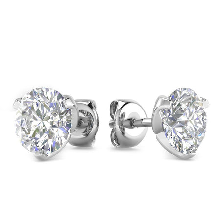 EAR-14-NAT-D-SI1-EX 14k White Gold 3-Prong Designer Diamond Stud Earrings - 1.00 carat D-SI1 Natural, Butterfly Push-Backs