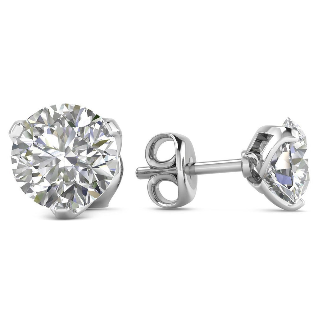 14k White Gold 3-Prong Designer Diamond Stud Earrings - 1.00 carat D-SI1 Natural, Butterfly Push-Backs - Custom Made