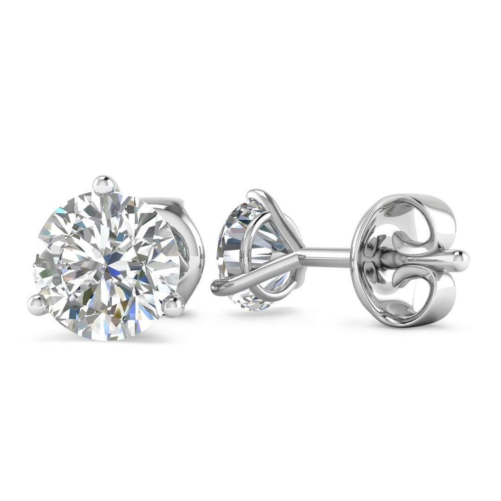 EAR-14-NAT-D-SI1-EX 14k White Gold 3-Prong Martini Diamond Stud Earrings - 1.00 carat D-SI1 Natural, Screw Backs