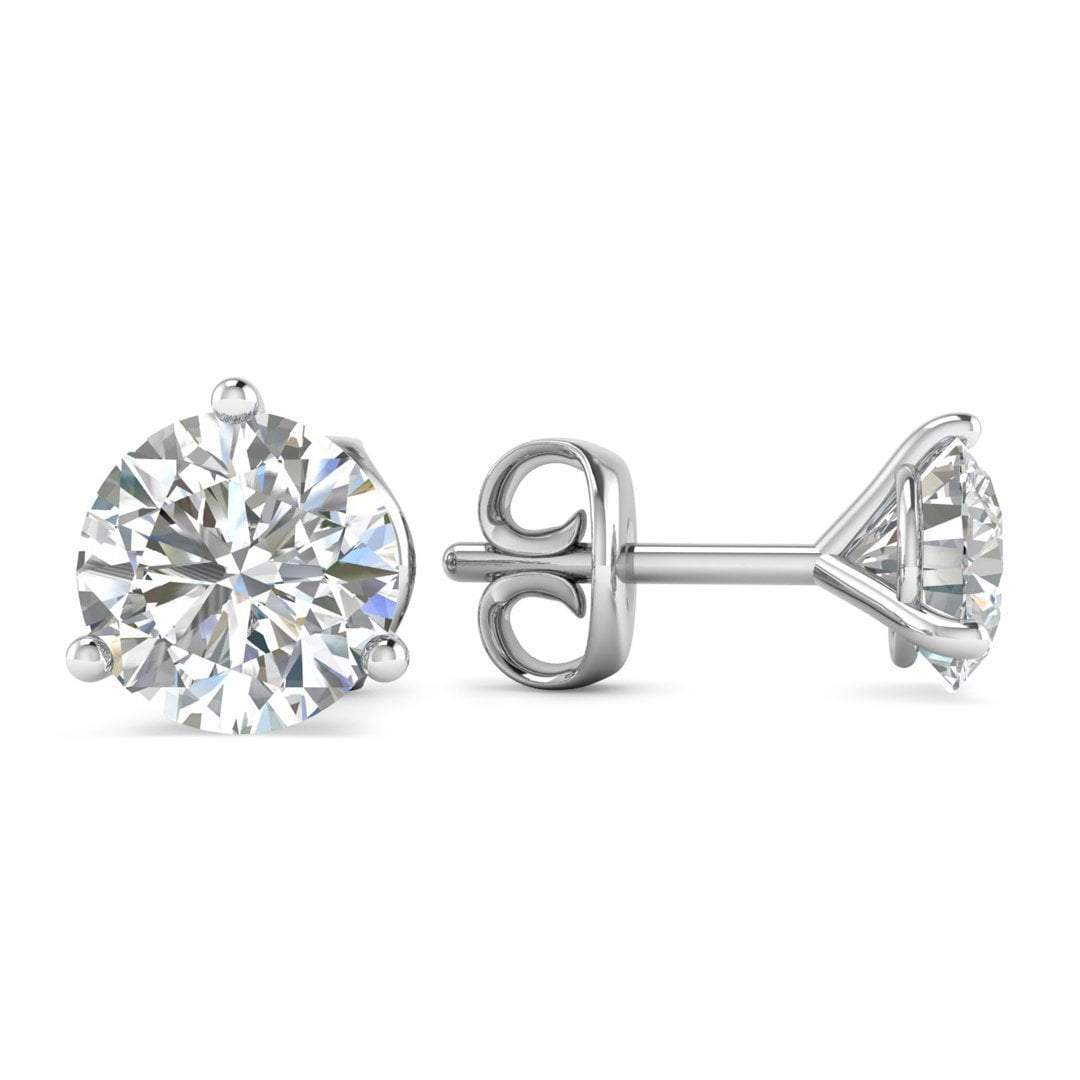 1 ct Round Cut 3-prong Solitaire Stud Earrings Solid 14k White Gold Screw Back