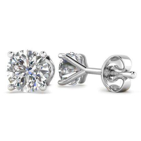 EAR-14-NAT-D-SI1-EX 14k White Gold 4-Prong Martini Diamond Stud Earrings - 0.50 carat D-SI1 Natural, Butterfly Push-Backs