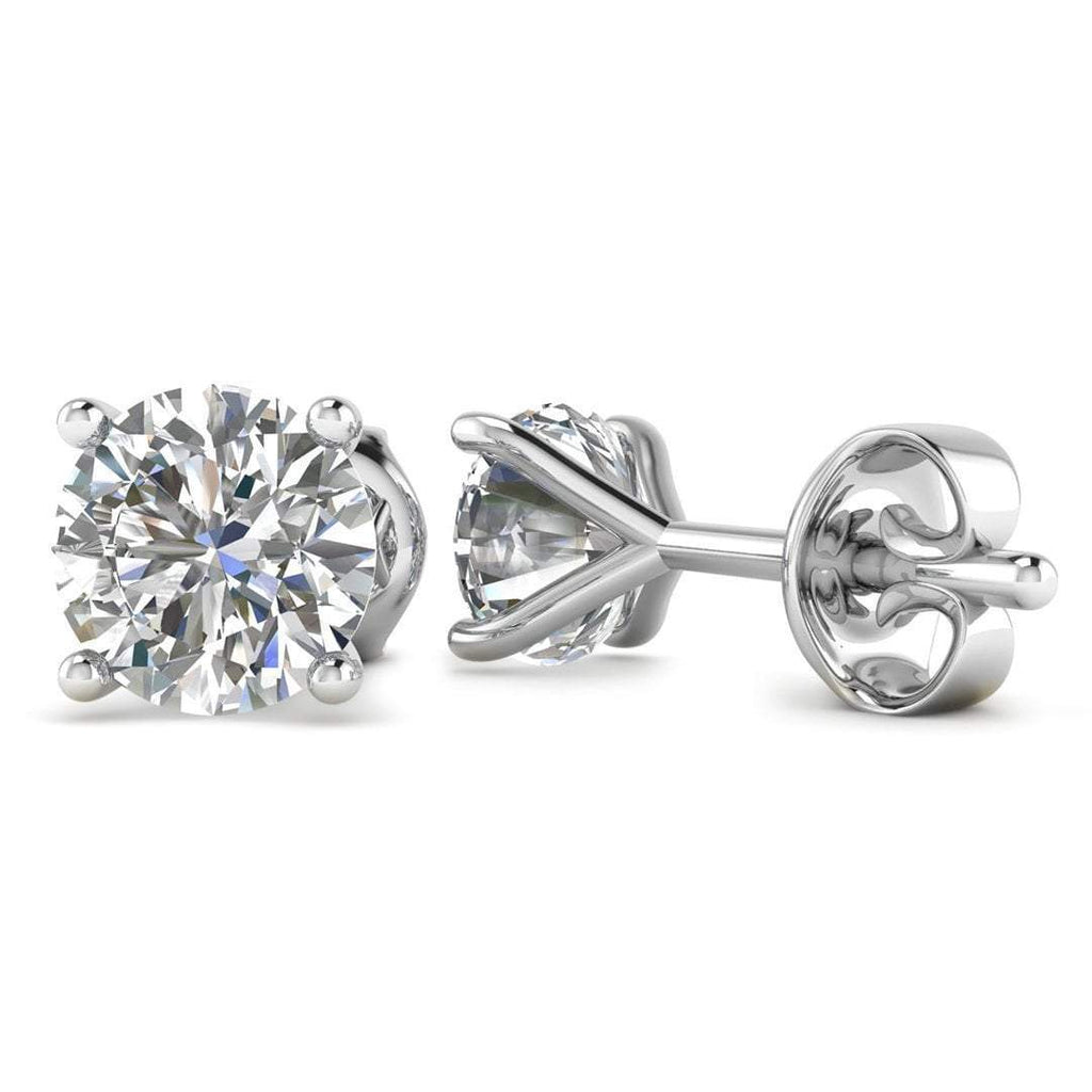 14k White Gold 4-Prong Martini Diamond Stud Earrings - 1.80 carat D-SI1 Natural, Butterfly Push-Backs - Custom Made