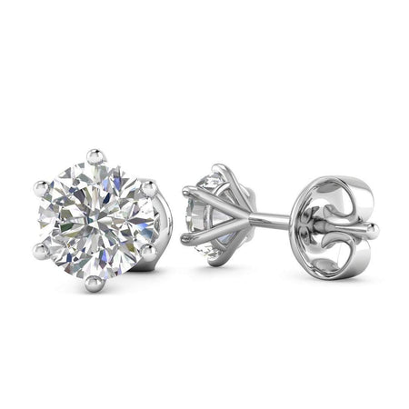 EAR-14-NAT-D-SI1-EX 14k White Gold 6-Prong Classic Diamond Stud Earrings - 0.50 carat D-SI1 Natural, Screw Backs