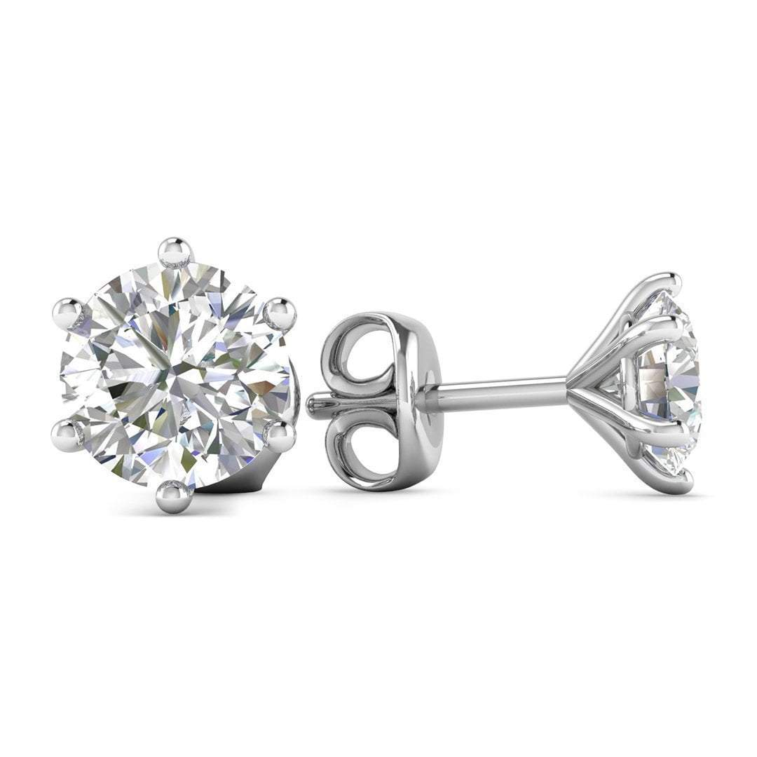 34074f148eee9 Details about 14k White Gold 6-Prong Classic Diamond Stud Earrings - 1.00  ct D-SI1 , Screw Bac