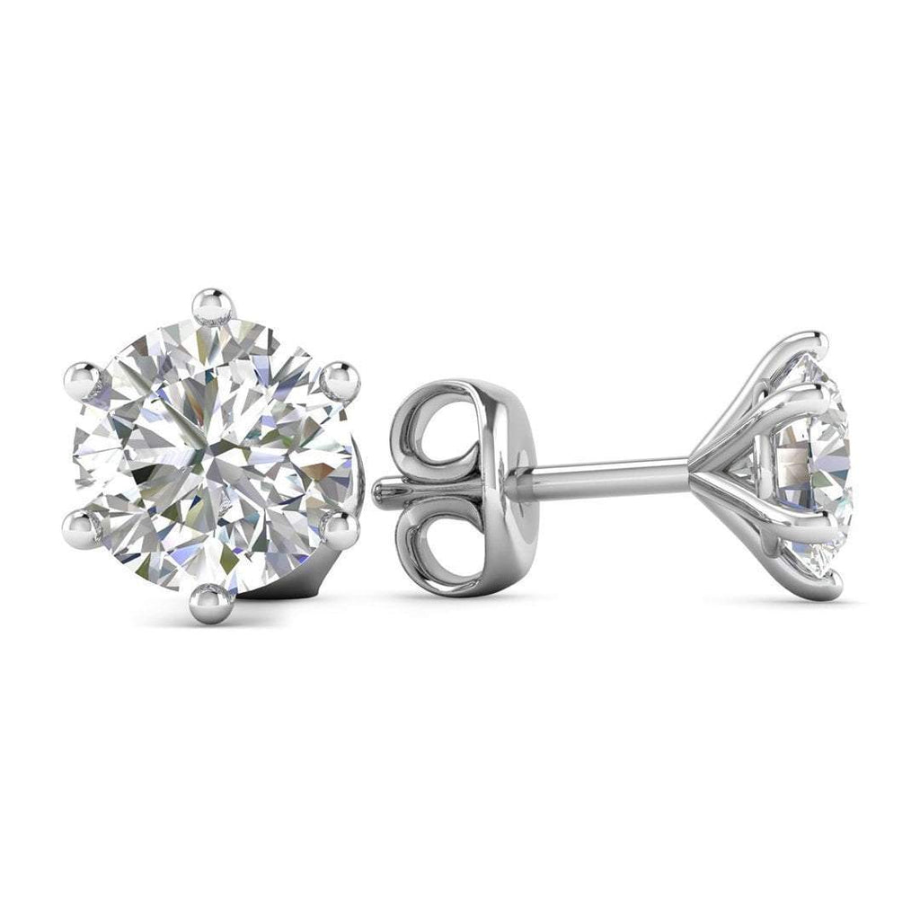 14k White Gold 6-Prong Classic Diamond Stud Earrings - 1.40 carat D-SI1 Natural, Butterfly Push-Backs - Custom Made