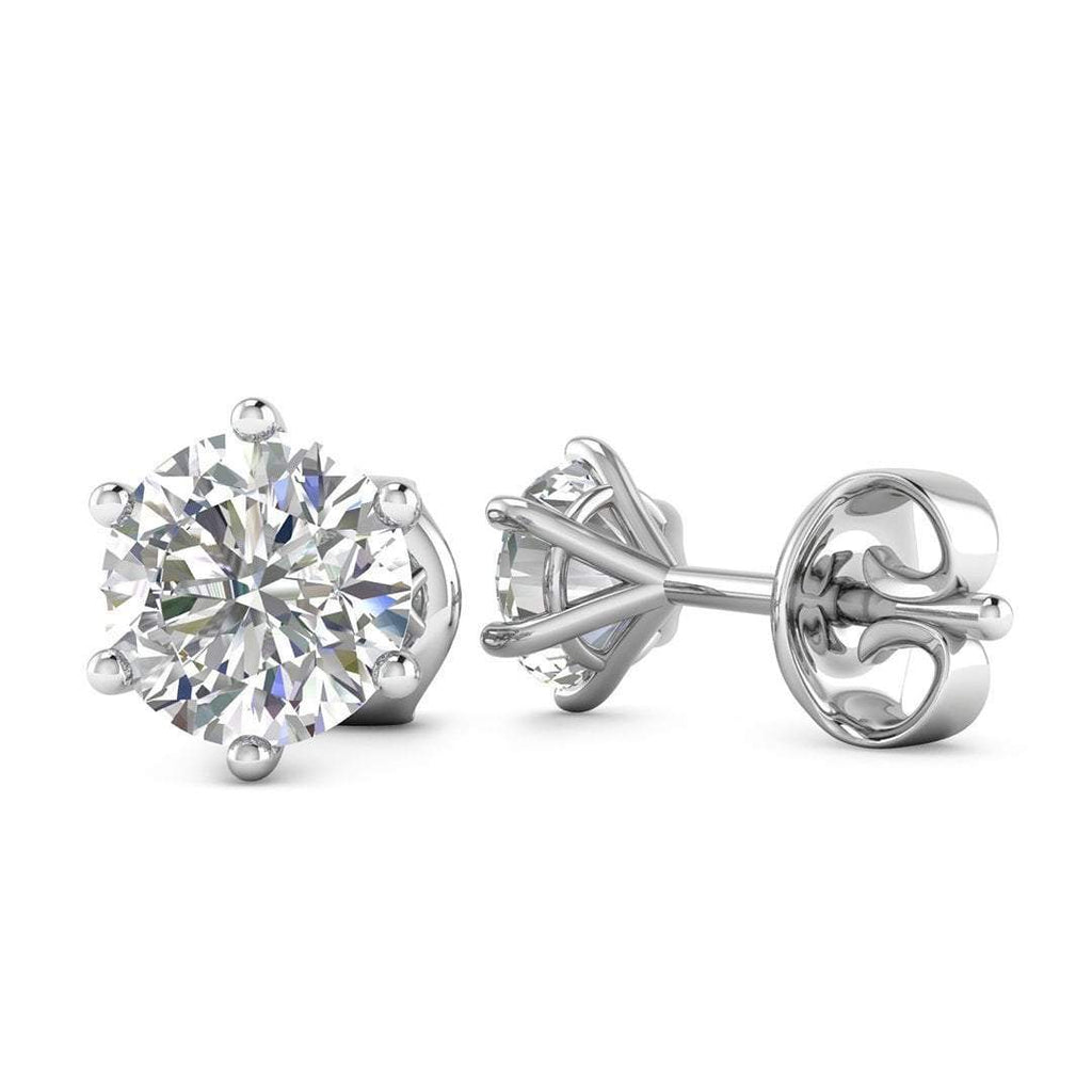 14k White Gold 6-Prong Classic Diamond Stud Earrings - 2.00 carat D-SI1 Natural, Butterfly Push-Backs - Custom Made