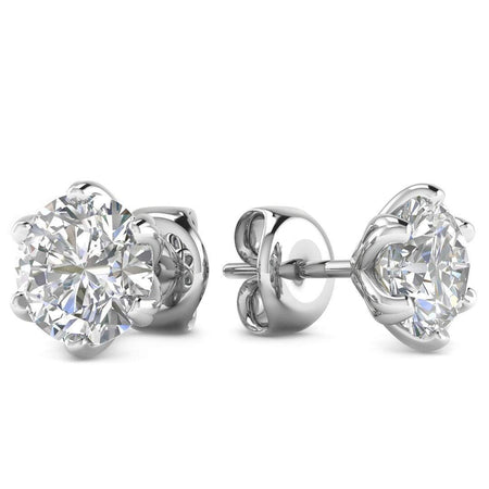 EAR-14-NAT-D-SI1-EX 14k White Gold 6-Prong Unique Diamond Stud Earrings - 0.60 carat D-SI1 Natural, Screw Backs