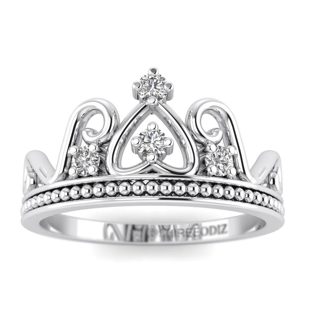 14K White Gold Antique Crown Promise Ring - Custom Made