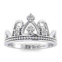 Hidden 14K White Gold Antique Crown Promise Ring