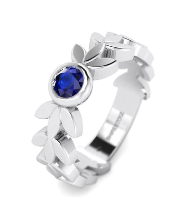 Hidden 14K White Gold Blue Sapphire Gemstone Rings - Leaves and Petals