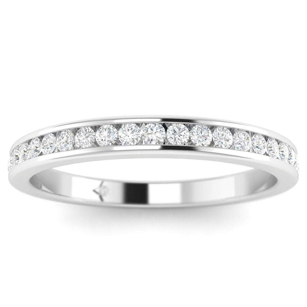 DB-14 14k White Gold Channel Set Stackable Diamond Wedding Band Ring