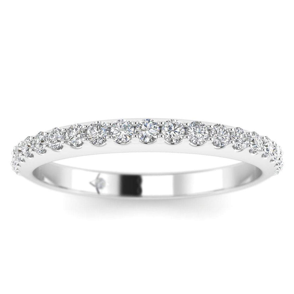 14k White Gold Classic French Pave Thin Diamond Wedding Band Ring - Custom Made