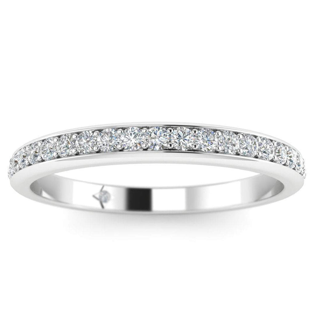 14k White Gold Classic Micro Pave Thin Diamond Wedding Band Ring - Custom Made