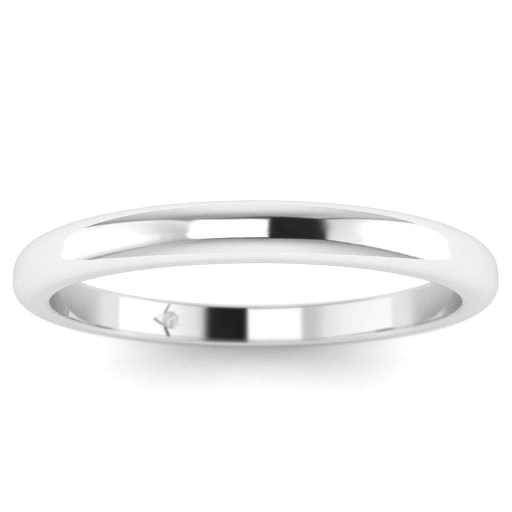 14k White Gold Classic Rounded Solid Plain Wedding Band Ring - Custom Made